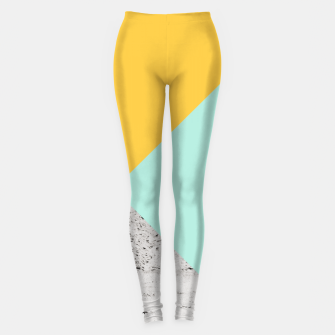Miniaturka Yellow and Mint meets Concrete Geometric #1 #minimal #decor #art  Leggings, Live Heroes
