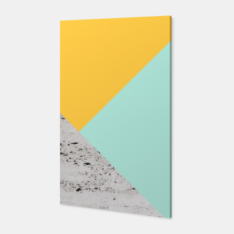 Miniaturka Yellow and Mint meets Concrete Geometric #1 #minimal #decor #art  Canvas, Live Heroes