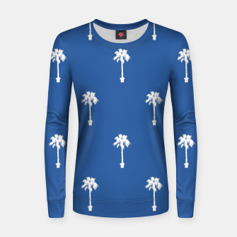 Miniatur Palm silhouettes on blue Women sweater, Live Heroes