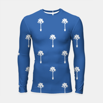 Thumbnail image of Palm silhouettes on blue Longsleeve rashguard , Live Heroes