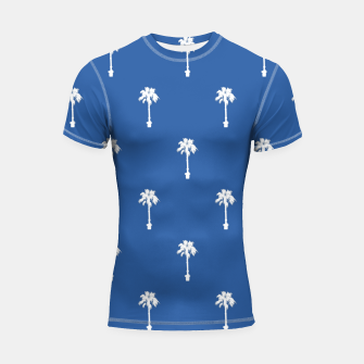 Thumbnail image of Palm silhouettes on blue Shortsleeve rashguard, Live Heroes