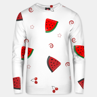 Thumbnail image of Watermelon slices and cherries cute fruity pattern Unisex sweater, Live Heroes