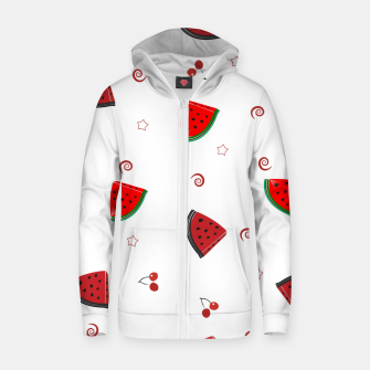 Thumbnail image of Watermelon slices and cherries cute fruity pattern Zip up hoodie, Live Heroes