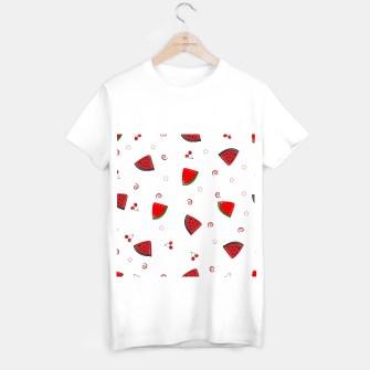 Thumbnail image of Watermelon slices and cherries cute fruity pattern T-shirt regular, Live Heroes