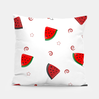 Thumbnail image of Watermelon slices and cherries cute fruity pattern Pillow, Live Heroes