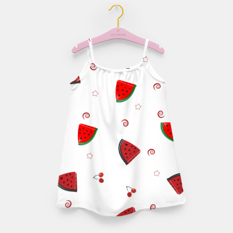 Thumbnail image of Watermelon slices and cherries cute fruity pattern Girl's dress, Live Heroes