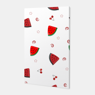 Thumbnail image of Watermelon slices and cherries cute fruity pattern Canvas, Live Heroes