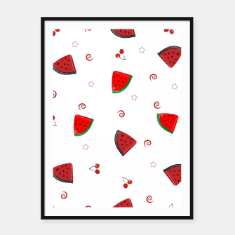 Thumbnail image of Watermelon slices and cherries cute fruity pattern Framed poster, Live Heroes