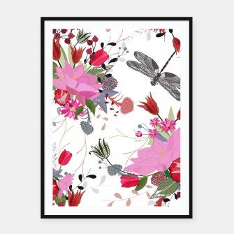 Thumbnail image of Tulips, lotus and protea spring time flowers bouquet pattern Framed poster, Live Heroes