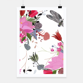 Thumbnail image of Tulips, lotus and protea spring time flowers bouquet pattern Poster, Live Heroes