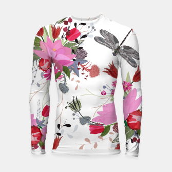 Thumbnail image of Tulips, lotus and protea spring time flowers bouquet pattern Longsleeve rashguard , Live Heroes