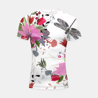 Thumbnail image of Tulips, lotus and protea spring time flowers bouquet pattern Shortsleeve rashguard, Live Heroes