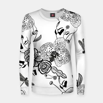 Thumbnail image of White Out Blooms hand drawn orchid and abstract flowers pattern  Women sweater, Live Heroes