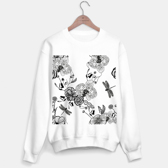 Thumbnail image of White Out Blooms hand drawn orchid and abstract flowers pattern  Sweater regular, Live Heroes