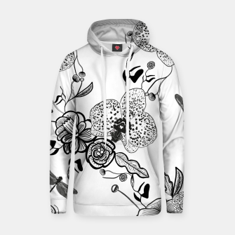 Thumbnail image of White Out Blooms hand drawn orchid and abstract flowers pattern  Hoodie, Live Heroes
