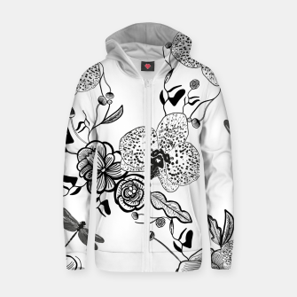Thumbnail image of White Out Blooms hand drawn orchid and abstract flowers pattern  Zip up hoodie, Live Heroes