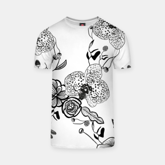 Thumbnail image of White Out Blooms hand drawn orchid and abstract flowers pattern  T-shirt, Live Heroes