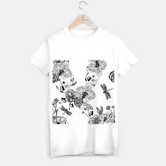 Thumbnail image of White Out Blooms hand drawn orchid and abstract flowers pattern  T-shirt regular, Live Heroes