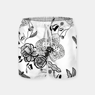 Thumbnail image of White Out Blooms hand drawn orchid and abstract flowers pattern  Swim Shorts, Live Heroes