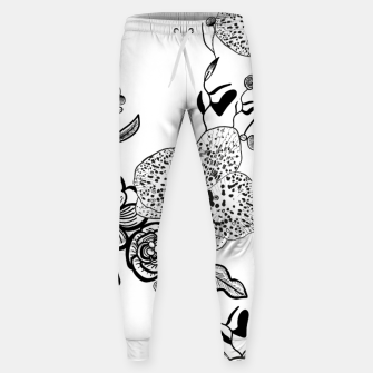 Thumbnail image of White Out Blooms hand drawn orchid and abstract flowers pattern  Sweatpants, Live Heroes
