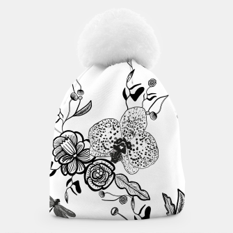 Thumbnail image of White Out Blooms hand drawn orchid and abstract flowers pattern  Beanie, Live Heroes