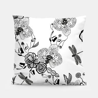 Thumbnail image of White Out Blooms hand drawn orchid and abstract flowers pattern  Pillow, Live Heroes