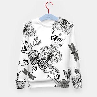 Thumbnail image of White Out Blooms hand drawn orchid and abstract flowers pattern  Kid's sweater, Live Heroes
