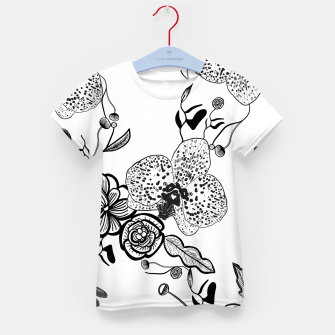 Thumbnail image of White Out Blooms hand drawn orchid and abstract flowers pattern  Kid's t-shirt, Live Heroes