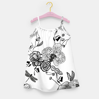 Thumbnail image of White Out Blooms hand drawn orchid and abstract flowers pattern  Girl's dress, Live Heroes