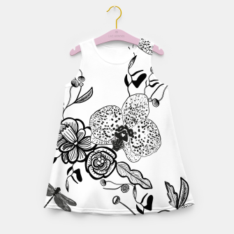 Thumbnail image of White Out Blooms hand drawn orchid and abstract flowers pattern  Girl's summer dress, Live Heroes