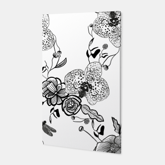 Thumbnail image of White Out Blooms hand drawn orchid and abstract flowers pattern  Canvas, Live Heroes