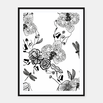 Thumbnail image of White Out Blooms hand drawn orchid and abstract flowers pattern  Framed poster, Live Heroes