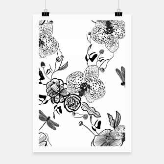 Thumbnail image of White Out Blooms hand drawn orchid and abstract flowers pattern  Poster, Live Heroes
