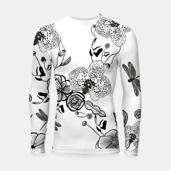 Thumbnail image of White Out Blooms hand drawn orchid and abstract flowers pattern  Longsleeve rashguard , Live Heroes