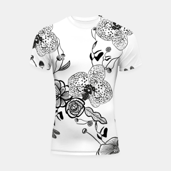 Thumbnail image of White Out Blooms hand drawn orchid and abstract flowers pattern  Shortsleeve rashguard, Live Heroes