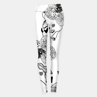 Thumbnail image of White Out Blooms hand drawn orchid and abstract flowers pattern  Leggings, Live Heroes