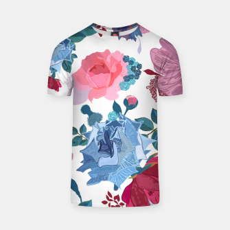 Thumbnail image of Blue and Pink Roses, Cosmos Flowers Vintage Style Pattern T-shirt, Live Heroes