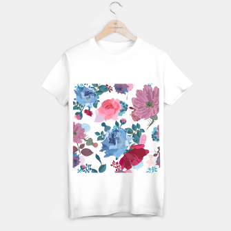 Thumbnail image of Blue and Pink Roses, Cosmos Flowers Vintage Style Pattern T-shirt regular, Live Heroes