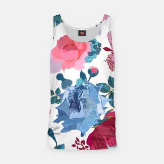 Thumbnail image of Blue and Pink Roses, Cosmos Flowers Vintage Style Pattern Tank Top, Live Heroes