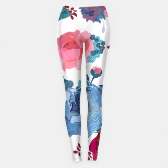 Thumbnail image of Blue and Pink Roses, Cosmos Flowers Vintage Style Pattern Leggings, Live Heroes