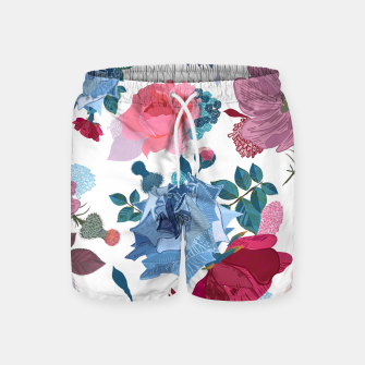 Thumbnail image of Blue and Pink Roses, Cosmos Flowers Vintage Style Pattern Swim Shorts, Live Heroes