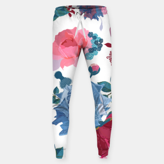 Thumbnail image of Blue and Pink Roses, Cosmos Flowers Vintage Style Pattern Sweatpants, Live Heroes