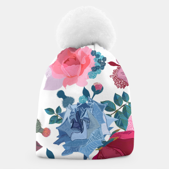 Miniatur Blue and Pink Roses, Cosmos Flowers Vintage Style Pattern Beanie, Live Heroes