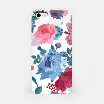 Thumbnail image of Blue and Pink Roses, Cosmos Flowers Vintage Style Pattern iPhone Case, Live Heroes