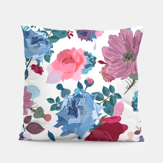 Thumbnail image of Blue and Pink Roses, Cosmos Flowers Vintage Style Pattern Pillow, Live Heroes