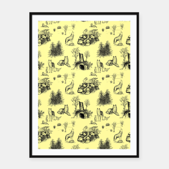 Miniature de image de Eurasian Wolf Toile Pattern (Yellow and Black) Framed poster, Live Heroes