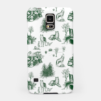 Miniatur Eurasian Wolf Toile Pattern (Dark Green and White) Samsung Case, Live Heroes