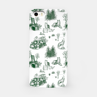 Miniatur Eurasian Wolf Toile Pattern (Dark Green and White) iPhone Case, Live Heroes