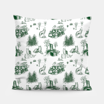 Miniatur Eurasian Wolf Toile Pattern (Dark Green and White) Pillow, Live Heroes