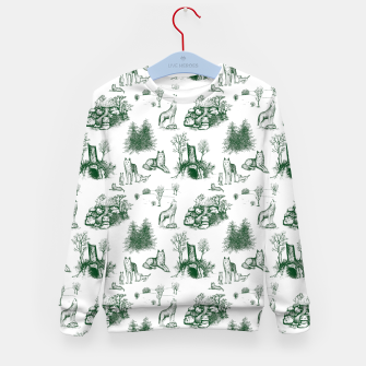 Miniatur Eurasian Wolf Toile Pattern (Dark Green and White) Kid's sweater, Live Heroes